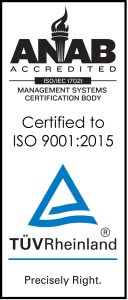 ANAB Accredited ISO: Management Systems Certification Body. Certified to ISO 9001:2015. TUVRheinland: Precisely Right.