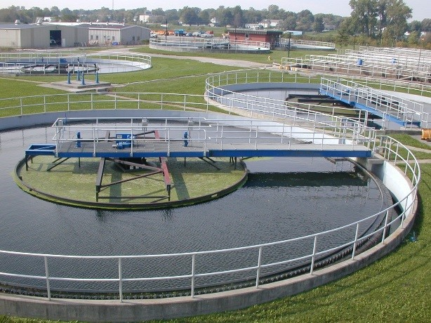 Overhead view of an outdoor wastewater treatment equipment